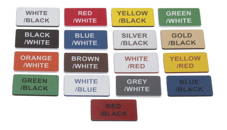 Colours to choose from for engraved signs